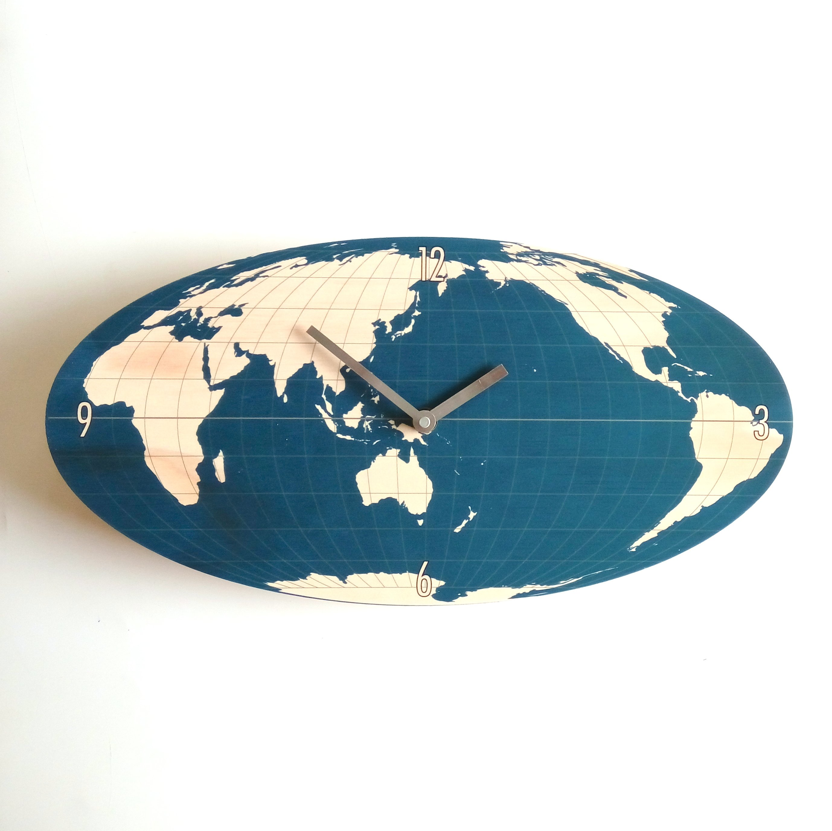 Navy oval world map wall clock gumiabroncs Image collections